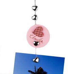 Fil porte-photos 'Sweetheart' 1,5 m avec boucle et poids en acier, 8 cœurs magnétiques incl.