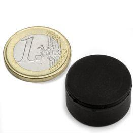 S-20-10-R Disco magnetico gommato Ø 22 mm, altezza 11,4 mm, tiene ca. 7,1 kg, impermeabile, neodimio, N42