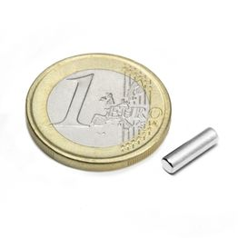 S-03-10-N Rod magnet Ø 3 mm, height 10 mm, holds approx. 390 g, neodymium, N45, nickel-plated