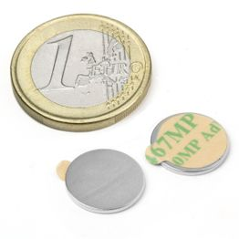 S-13-01-STIC Scheibenmagnet selbstklebend Ø 13 mm, Höhe 1 mm, hält ca. 710 g, Neodym, N35, vernickelt