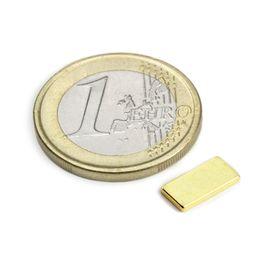 Q-10-05-01-G Blokmagneet 10 x 5 x 1 mm, houdt ca. 650 gr, neodymium, N50, verguld