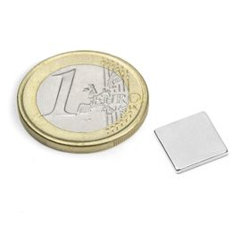 Q-10-10-1.2-N52N Block magnet 10 x 10 x 1,2 mm, holds approx. 1 kg, neodymium, N52, nickel-plated
