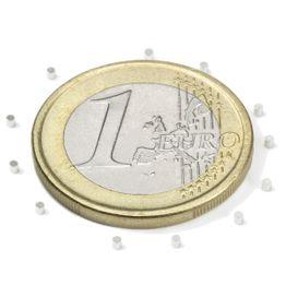 S-01-01-N Scheibenmagnet Ø 1 mm, Höhe 1 mm, hält ca. 31 g, Neodym, N45, vernickelt