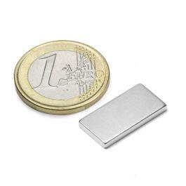 Q-20-10-02-N Parallélépipède magnétique 20 x 10 x 2 mm, néodyme, N45, nickelé