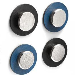 Nano-gel-pad metallici di silwy Ø 5,0 cm con magneti 'Smart' supporto aderente per magneti, riutilizzabile, con rivestimento in similpelle, set da 2, in diversi colori