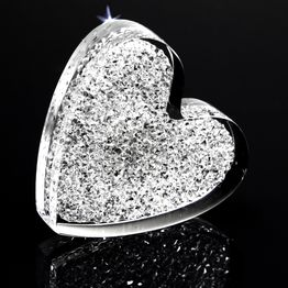 Decorative magnet 'Glitter Heart' made of plexiglass, with Swarovski crystals