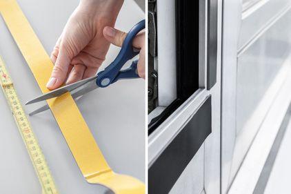 Il nastro magnetico autoadesivo viene misurato e fissato alla finestra