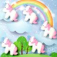 Magneti decorativi a forma di unicorno, bianco-rosa, set da 5
