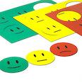Per lavagne bianche & lavagne per la progettazione, 6 smiley per foglio A5, set di 3 pezzi: verde, giallo, rosso