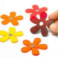 Magneti floreali in colori estivi, set da 5