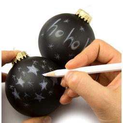 LIV-78, Palline per l'albero di Natale 'Black Magic', scrivibili con pastello bianco, set da 2, non magnetico!