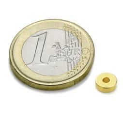 R-06-02-02-G, Anello magnetico Ø 6/2 mm, altezza 2 mm, neodimio, N45, dorato