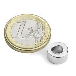 R-10-05-05-DN, Anello magnetico Ø 10/5 mm, altezza 5 mm, neodimio, N45, nichelato, magnetizzato diametralmente