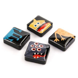 SALE-053/monsters, Icons Monster, Dekomagnete quadratisch, 4er-Set, in diversen Designs