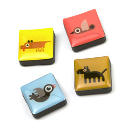 SALE-053/animals, Icons animals, fridge magnets square, set of 4, in various designs