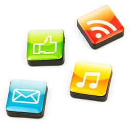 SALE-053/apps, Icons apps, decoratiemagneten vierkant, set van 4, in diverse stijlen