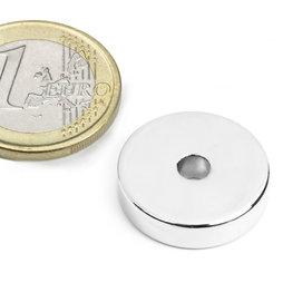 R-20-04-05-N, Anello magnetico Ø 20/4,2 mm, altezza 5 mm, neodimio, N45, nichelato