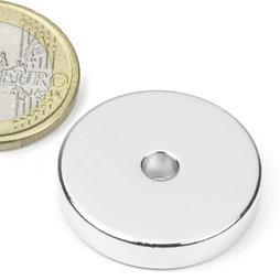 R-25-04-05-N, Anello magnetico Ø 25/4,2 mm, altezza 5 mm, neodimio, N45, nichelato