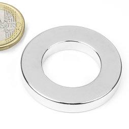 R-40-23-06-N, Anello magnetico Ø 40/23 mm, altezza 6 mm, neodimio, N42, nichelato