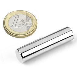 S-10-40-N, Cilindro magnetico Ø 10 mm, altezza 40 mm, neodimio, N40, nichelato