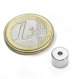 R-08-02-06-N, Anello magnetico Ø 8/2 mm, altezza 6 mm, neodimio, N50, nichelato