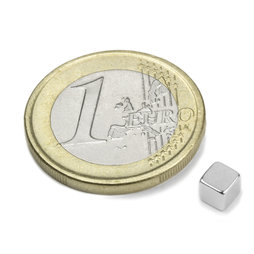 W-04-N, Würfelmagnet 4 mm, Neodym, N42, vernickelt