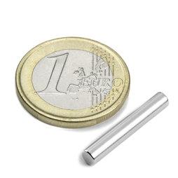 S-04-25-N, Cilindro magnetico Ø 4 mm, altezza 25 mm, neodimio, N42, nichelato