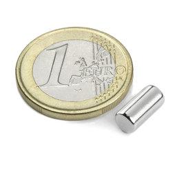 S-05-10-N, Cilindro magnetico Ø 5 mm, altezza 10 mm, neodimio, N45, nichelato