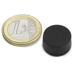 S-15-08-R, Disco magnetico gommato Ø 16,8 mm, altezza 9,4 mm, neodimio, N42