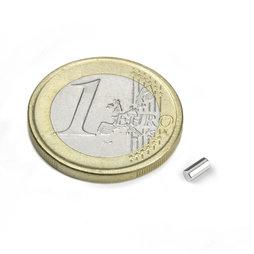 S-02-04-N, Cilindro magnetico Ø 2 mm, altezza 4 mm, neodimio, N45, nichelato