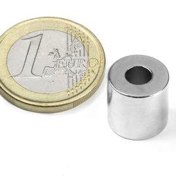 R-12-05-12-N, Anello magnetico Ø 12/5 mm, altezza 12 mm, neodimio, N42, nichelato