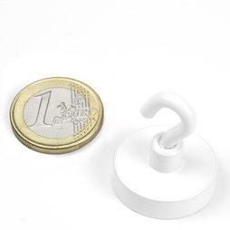 FTNW-25, Magnete con gancio bianco Ø 25,3 mm, verniciato a polvere, filettatura M4