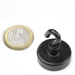 FTNB-25, Magnete con gancio nero, Ø 25,3 mm, verniciato a polvere, filettatura M4