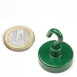 FTNG-25, Magnete con gancio verde, Ø 25,3 mm, verniciato a polvere, filettatura M4