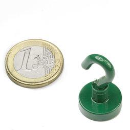FTNG-16, Magnete con gancio verde Ø 16,3 mm, verniciato a polvere, filettatura M4