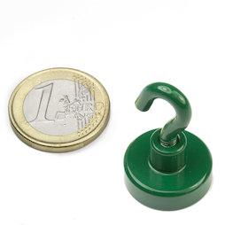 FTNG-20, Magnete con gancio verde Ø 20,3 mm, verniciato a polvere, filettatura M4