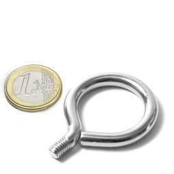 STE-19, occhiello da avvitare diametro interno 19 mm, acciaio, nichelato, filettatura M6