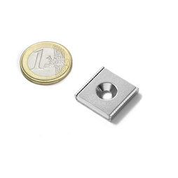 CSR-20-20-04-N, Magnete piatto a barra 20 x 20 x 4 mm, Con foro svasato, profilo a U in acciaio