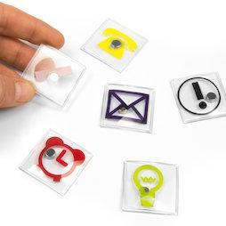 SALE-110, Icone per l'ufficio, quadrati, diversi motivi, set da 6