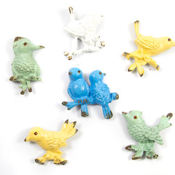 SALE-103, Ornament Birds, imanes de nevera con aspecto desgastado, 6 uds.