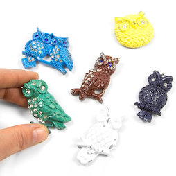 SALE-102, Glitter Owls, fridge magnets in second-hand look, set of 6