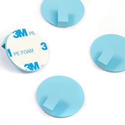 SALE-115, Ganci metallici autoadesivi, rotondi, blu, set da 4, non sono magneti!