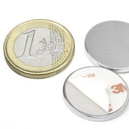 S-22-02-FOAM, Disco magnetico (autoadesivo) Ø 22 mm, altezza 2 mm, neodimio, N35, nichelato