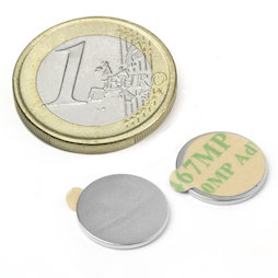 S-13-01-STIC, Disco magnetico autoadesivo Ø 13 mm, altezza 1 mm, neodimio, N35, nichelato