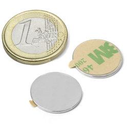 S-18-01-STIC, Disco magnetico autoadesivo Ø 18 mm, altezza 1 mm, neodimio, N35, nichelato