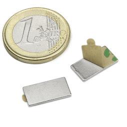 Q-15-08-01-STIC, Parallelepipedo magnetico (autoadesivo) 15 x 8 x 1 mm, neodimio, N35, nichelato