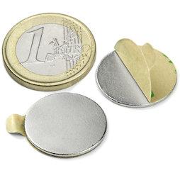 S-20-01-STIC, Disco magnetico autoadesivo Ø 20 mm, altezza 1 mm, neodimio, N35, nichelato