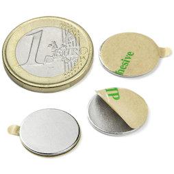 S-15-01-STIC, Disco magnetico (autoadesivo) Ø 15 mm, altezza 1 mm, neodimio, N35, nichelato
