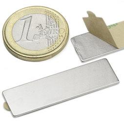 Q-40-12-01-STIC, Parallelepipedo magnetico (autoadesivo) 40 x 12 x 1 mm, neodimio, N35, nichelato