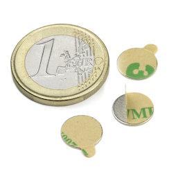 S-10-0.6-STIC, Disco magnetico (autoadesivo) Ø 10 mm, altezza 0,6 mm, neodimio, N35, nichelato
